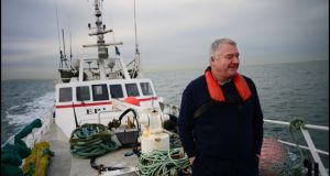 Howth skipper  John Lynch navigates the Brexit high seas in his fishing vessel, Eblana.  Photograph: Bryan O'Brien