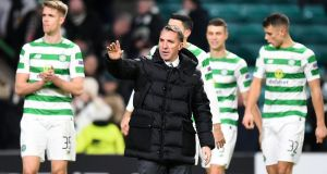 Celtic manager Brendan Rodgers applauds the home fans at Celtic Park. Photograph: Getty Images