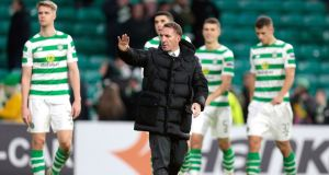 Celtic manager Brendan Rodgers acknowledges the fans at Celtic Park. Photograph: PA
