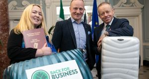 Designer Clare O'Connor, retailer Thomas Ennis and Minister of State for the Diaspora Ciaran Cannon at the launch of Back for Business
