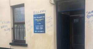 Fine Gael TD Tony McLoughlin's office in Sligo town was defaced. Photograph: Twitter