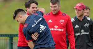 Joey Carbery and Conor Murray during Munster training. Photograph: Laszlo Geczo/Inpho