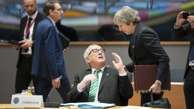 Jean-Claude Juncker and Theresa May at a European Union summit in Brussels on Thursday. Photograph: Jasper Juinen/Bloomberg