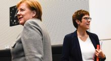 German chancellor Angela Merkel and Annegret Kramp-Karrenbauer (AKK): AKK, the new chair of the German Christian Democratic Union, has to put up with being tagged a mini-Merkel. Photograph: Filip Singer