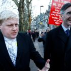 Otherworldly villains:  A Boris Johnson impersonator walks alongside Jacob Rees-Mogg. Leavers had a powerful, emotionally resonant issue: immigration. Photograph:  Henry Nicholls