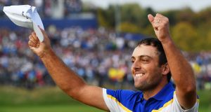 Francesco Molinari   celebrates his clean sweep and Europe's win at the Ryder Cup. Photograph: Stuart Franklin/Getty Images