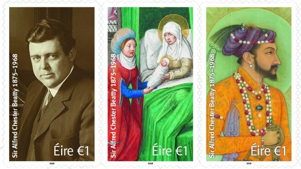 Commemorative stamps issued this year to mark 50th anniversary of the death of Sir Alfred Chester Beatty. The stamps feature a portrait photograph of Beatty (c1934) and images from the library collection.