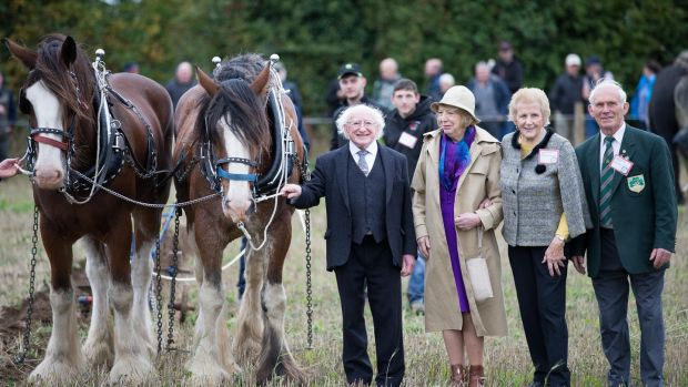 Anna May McHugh with Michael D and Sabina Higgins and Dennis Keoghane of the National Ploughing Associatio at day one of the 2018 event in Tullamore. Photograph: Tom Honan
