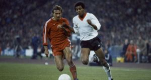 Howard Gayle  of Liverpool (right) moves past Wolfgang Dremmler of Bayern Munich during the European Cup Semi-Final 2nd leg at the Olympic Stadium in Munich, 22nd April 1981. Photograph: Keith Hailey/Popperfoto/Getty Images
