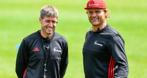 Ronan O'Gara with Canterbury Crusaders head coach Scott Robertson. Photograph: John Davidson/Inpho/Photosport