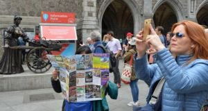 Tourists in Dublin. Overall Irish revenues for the first nine months of the year are up 7.1 per cent compared to the corresponding period in 2017 with revenue from key markets up 12.2 per cent