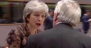 "Theresa May took exception to Jean-Claude Juncker's comments. Their exchange was captured on camera. ""You called me nebulous!"" she complained"