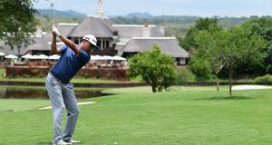 David Lipsky holds a one-shot lead after a second round of 66 at the Alfred Dunhill Champioship at Leopard Creek. Photograph: Stuart Franklin/Getty Images