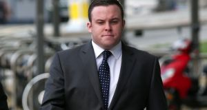 Garda Warren Farrell has pleaded not guilty to dangerous driving causing the death of a pedestrian.  Photograph:  Collins Courts