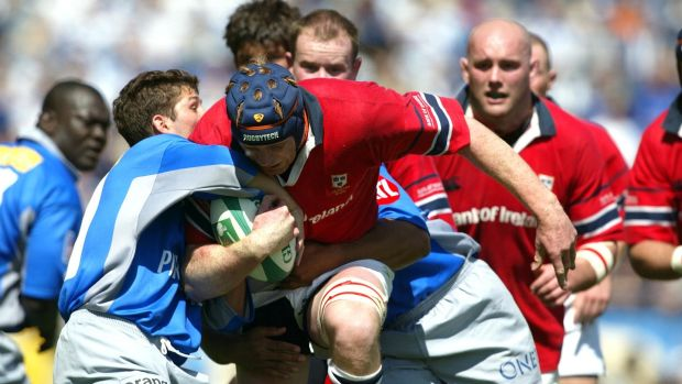 Paul O'Connell carries for Munster during their Heineken Cup semi-final win over Castres in 2002. Photograph: Patrick Bolger/Inpho