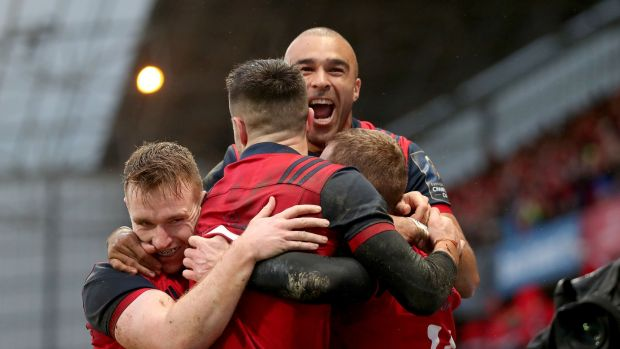 Munster celebrate Keith Earls' opening try in the province's 48-3 win over Castres in January. Photograph: Dan Sheridan/Inpho