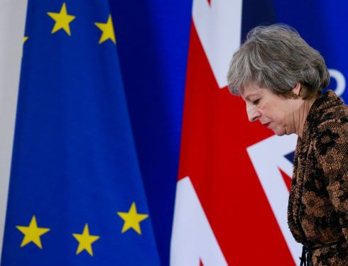 BREXIT STAGE LEFT: British prime minister Theresa May walks off after a news conference at the end of the summit of EU leaders in Brussels, Belgium. Photograph: Stephanie Lecocq/EPA