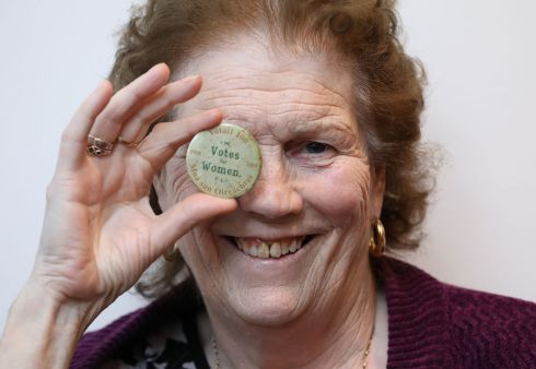 BADGE OF HONOUR: Pavee Point representative Missie Collins at the Politics Needs Women conference at the Convention Centre in Dublin. Photograph: Bryan James Brophy