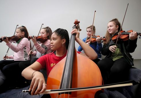 STRINGS TO YOUR BOW: Musicians perform as Social innovation Fund Ireland announces the winners of the 2018 youth fund, at The Richmond Education and Event Centre, Dublin. Photograph: Marc O'Sullivan