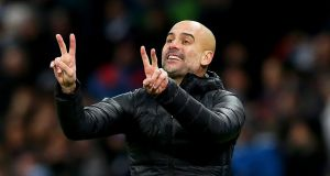 Manchester City's manager Pep Guardiola is pleased City are only a point behind the leaders. Photograph: EPA