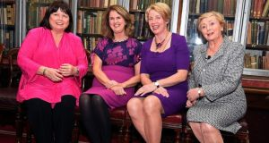 Former tanaistí Mary Harney, Joan Burton, Mary Coughlan and Frances Fitzgerald at the Royal Irish Academy in Dublin on Wednesday evening. Photograph: Dave Meehan