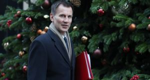 Britain's foreign secretary Jeremy Hunt attends the weekly meeting of the cabinet at 10 Downing Street in London last week. Photograph: Daniel Leal-Olivas/AFP/Getty Images