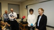 Eilidh MacNab of Tusla, the Child and Family Agency, with Garda Sergeant Fiona Savidge (right) speaking at a press briefing at Balbriggan Garda station. Photograph Nick Bradshaw
