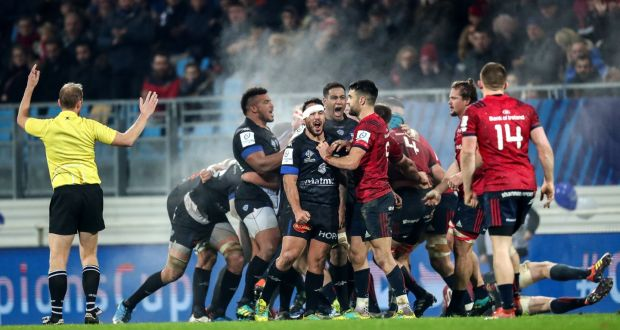 Casters Forwards Celebrate After They Turn Over A Late Munster Scrum In Their Narrow 13