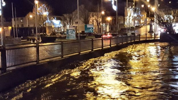 Flooding in Enniscorthy during Storm Deirdre. Photograph: Liam Ruth/Twitter