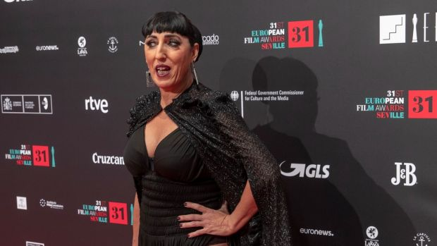 Spanish actor Rossy de Palma poses for photographers on the red carpet of the European Film Awards at Teatro de la Maestranza in Seville, Spain. Photograph: Julio Munoz/EPA