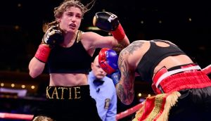 Katie Taylor on her way to victory over Eva Wahlstrom at Madison Square Garden, New York City. Photo by Sarah Stier/Getty Images