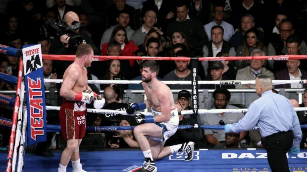 Saúl 'Canelo' Álvarez knocks down Michael 'Rocky' Fielding during the WBA super-middleweight fight at Madison Square Garden in New York. Photograph: Peter Foley/EPA