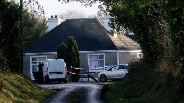 The scene at a house outside Strokestown Roscommon, where a group of men arrived early on Sunday morning and ejected security personnel from the property. Photograph: Brian Farrell