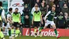 Hibernian's Vykintas Slivka celebrates scoring his side's first goal in the Scottish Premiership match against Celtic  at Easter Road in Edinburgh.  Photograph: Ian Rutherford/PA Wire