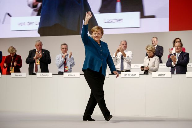 Last stand: Angela Merkel after her final CDU conference speech as leader, earlier this month. Photograph: Carsten Koall/Getty