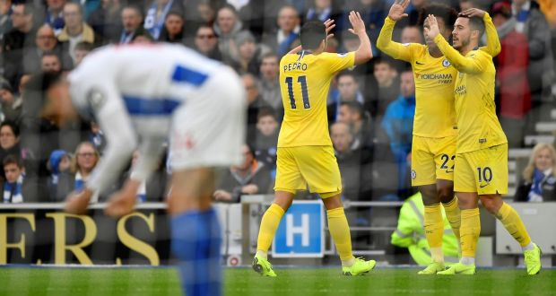 5514b18dc18 Chelsea s Eden Hazard celebrates scoring Chelsea s second goal with Willian  and Pedro. Photograph  Pedro