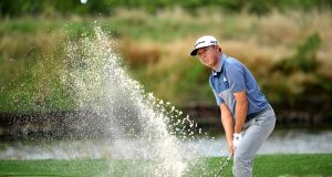 David Lipsky of the United States plays out of a bunker during day four of the Alfred Dunhill Championships at Leopard Creek Country  Club in Malelane, South Africa. Photograph: Stuart Franklin/Getty Images