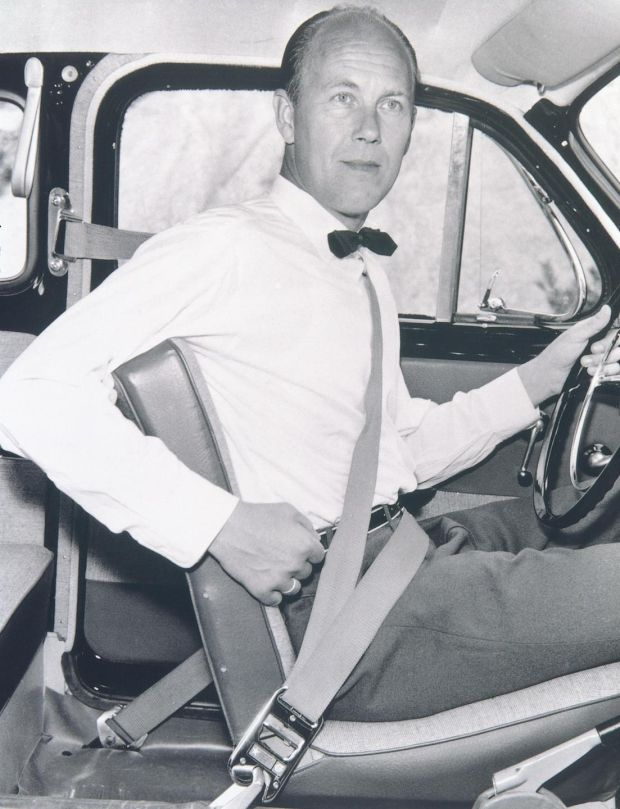 Clunk click every trip: Nils Bohlin, the Volvo engineer who invented the three-point seat belt. Photograph: Volvo