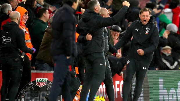 Southampton's new manager Ralph Hasenhuettl celebrates his team's third goal against Arsenal. Photograph: Catherine Ivill/Getty Images