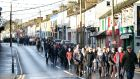 People marching in support of two Castlerea  men who allege they were  assaulted by a garda  last week. Photograph: Brian Farrell