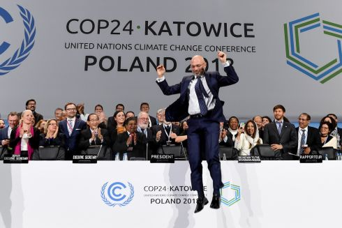 JUMP FOR JOY: COP24 president Michal Kurtyka jumps at the end of the final session of the COP24 summit on climate change in Katowice, southern Poland. After two weeks of talks, officials agreed a common rulebook to enforce the deal reached in Paris in 2015. Photograph: Janek Skarzynski/AFP/Getty Images