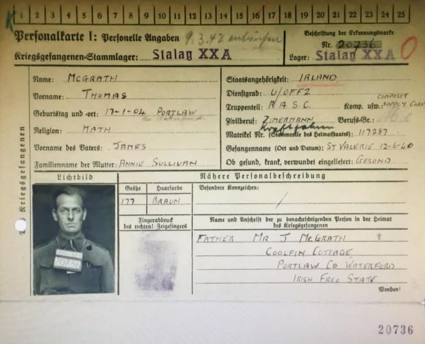 Stalag XXA: Cpl Tom McGrath's German prisoner-of-war card. Photograph courtesy family collection