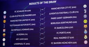 The round of 16 Champions League draw. Photograph: Denis Balibouse/Reuters