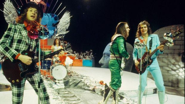 Slade perform on a Christmas TV show in 1973, the year they took No 1. Photograph: Gijsbert Hanekroot/Redferns