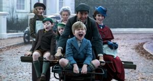 Emily Mortimer, Nathanael Saleh, Pixie Davies, Julie Walters, Lin-Manuel Miranda, Joel Dawson and Emily Blunt in 'Mary Poppins Returns'.