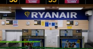 An empty Ryanair window  at Valencia airport, Spain, on September 28th  as the airline's workers went on strike. Photograph:  Reuters/Heino Kalis