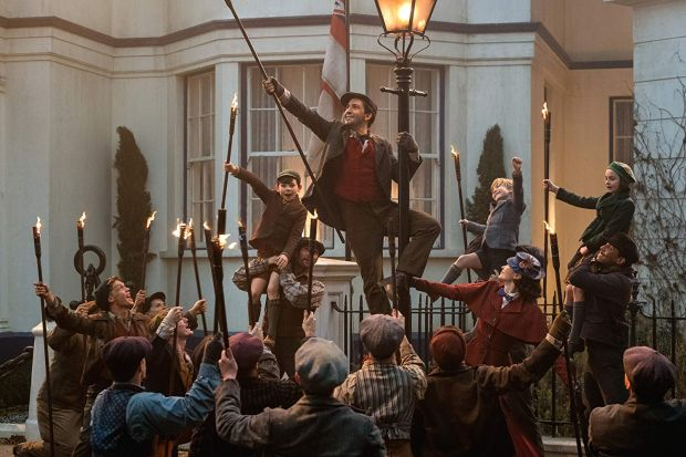 Lin-Manuel Miranda, Emily Blunt, Pixie Davies, Nathanael Saleh, and Joel Dawson in Mary Poppins Returns. Photograph: Disney