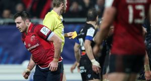 Munster's Niall Scannell receives a yellow card from referee Wayne Barnes during the defeat to Castres at Stade de Pierres. Photograph: Billy Stickland/Inpho