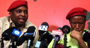 Floyd Shivambu and  Julius Malema of the Economic Freedom Fighters (EFF).  Photograph: Felix Dlangamandla/Foto24/Gallo Images/Getty Images