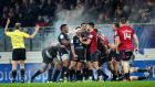 Castres players celebrate a penalty against Munster at Stade Pierres Fabre, Castres, France. Photograph: Billy Stickland/Inpho